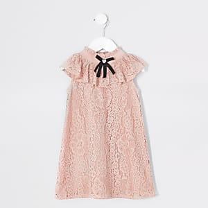 Mini - Roze mouwloze trapeze jurk met strik voor meisjes