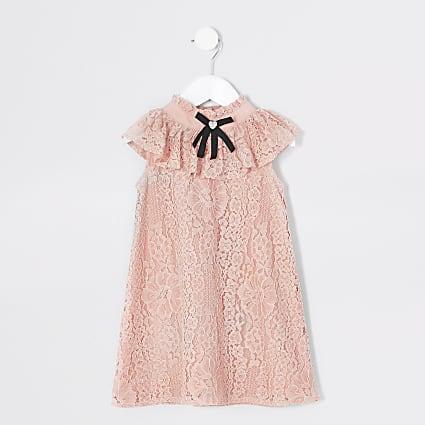 Mini girls pink bow sleeveless trapeze dress