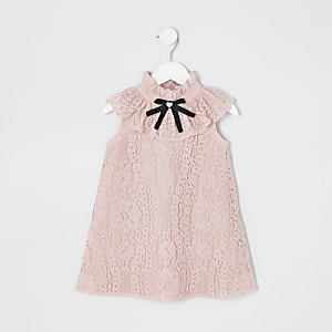 Mini girls lace bow collar shift dress