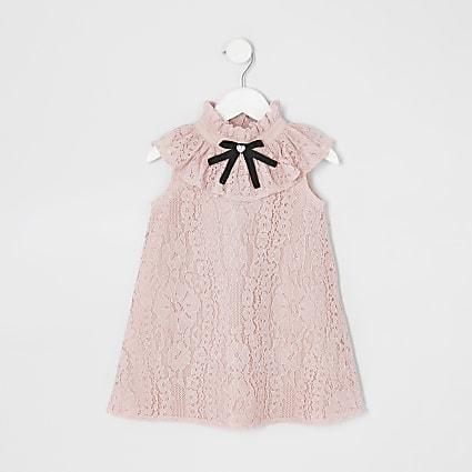 Mini girls lace bow collar shift dress