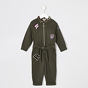 Mini Girls Utility-Overall in Khaki