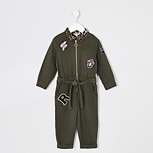 Mini - Kaki utility jumpsuit voor meisjes