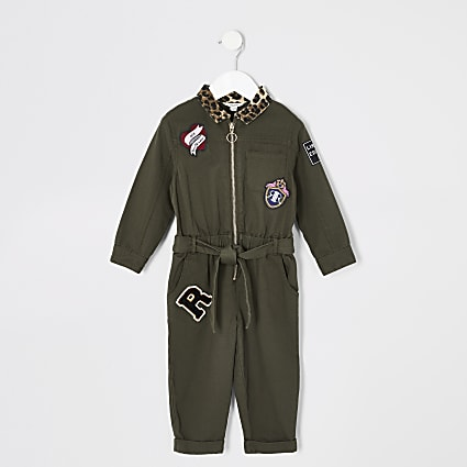 Mini girls khaki utility jumpsuit