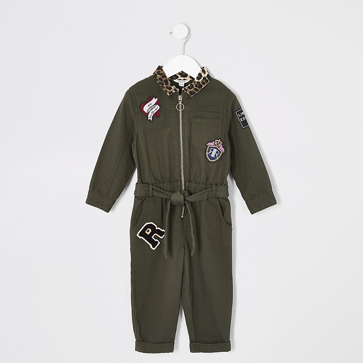 Mini girls khaki utility jumpsuit