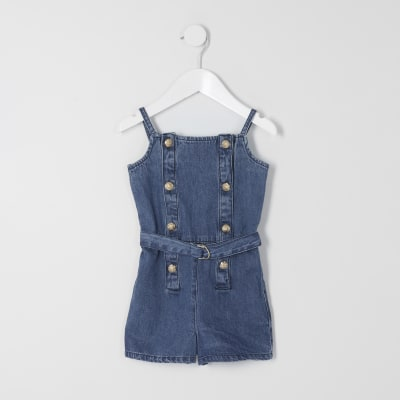 Mini Girls Blue Denim Belted Playsuit by River Island
