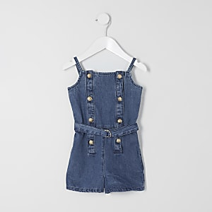 Mini girls blue denim belted playsuit