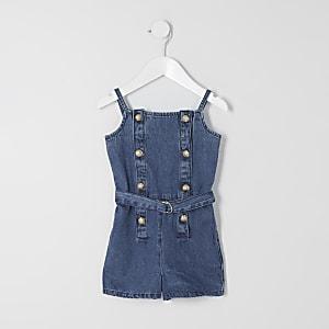 Blauer Jeansoverall mit Gürtel für kleine Mädchen