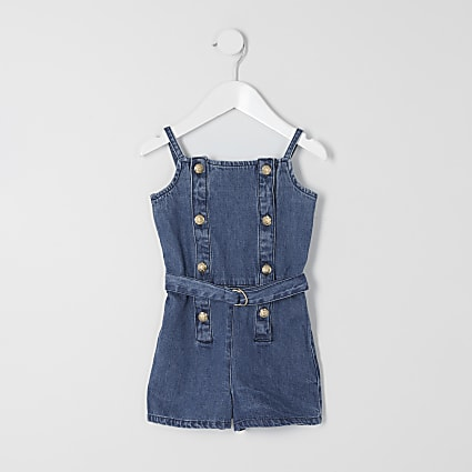 Mini girls blue denim belted playsuit