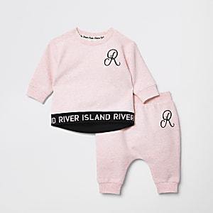Ensemble avec pull à logo RI rose pour bébé