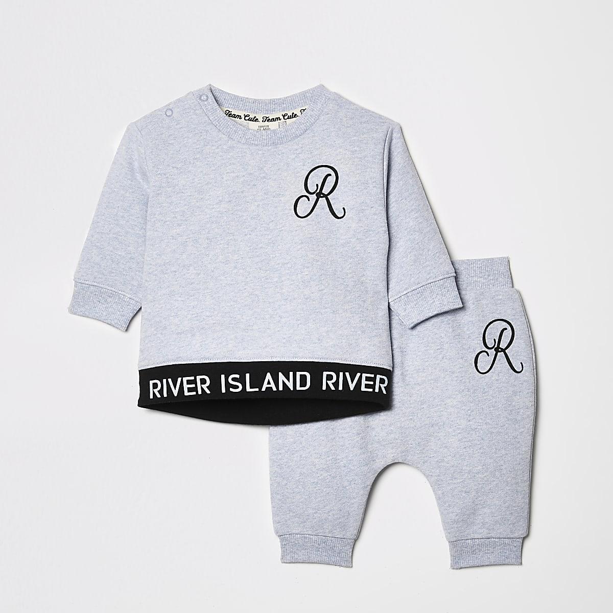 Outfit met blauw sweatshirt met RI-print voor baby's