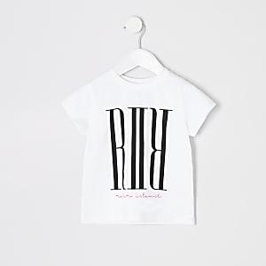 Mini girls white RI print T-shirt