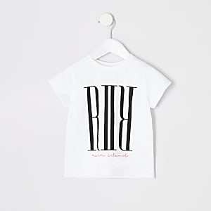 Mini girls white RI print T-shirt