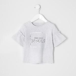 T-shirt « Bisous » gris à volants pour mini fille