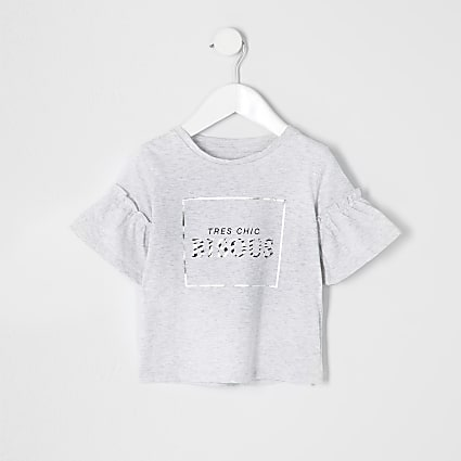 Mini girls grey 'bisous' frill T-shirt