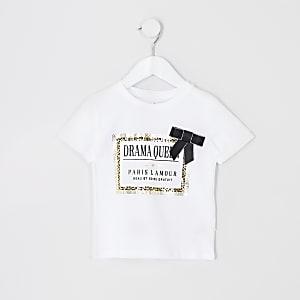 T-shirt blanc avec bordure léopard pour mini fille