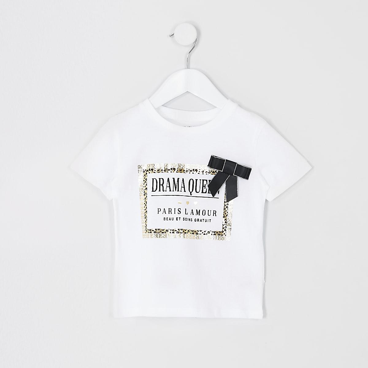 Mini girls white leopard print trim T-shirt