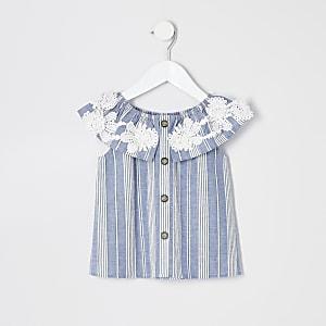 Mini - Blauwe gestreepte bardottop voor meisjes