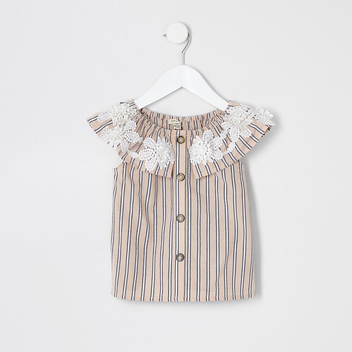 Mini girls pink stripe bardot top