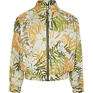 Girls khaki palm print bomber jacket