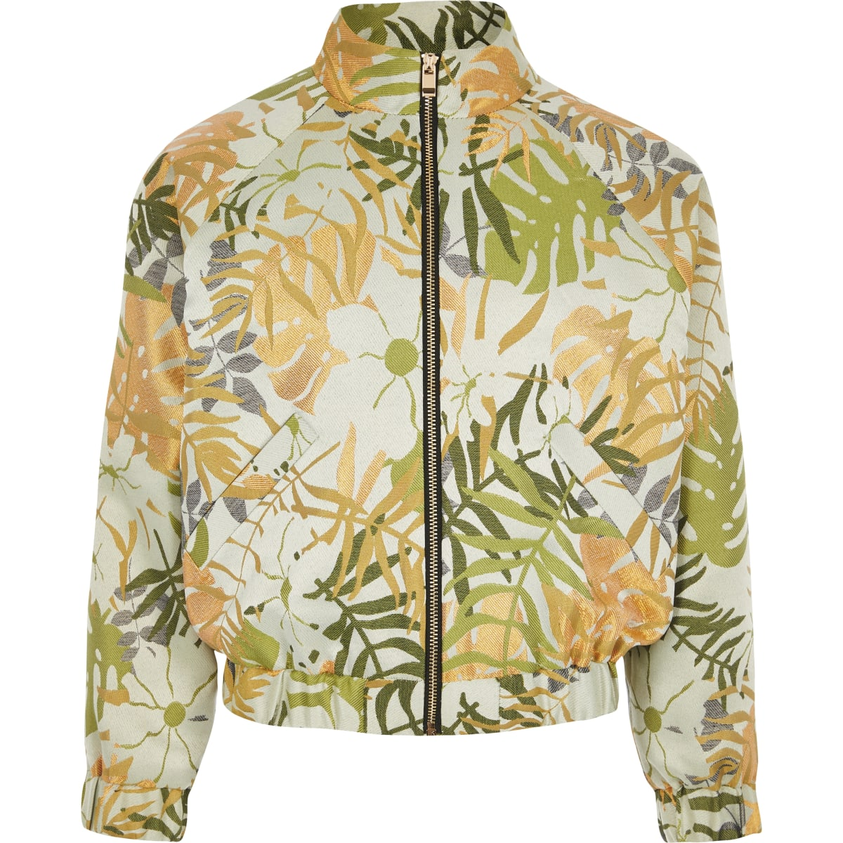Girls khaki palm print bomber jacket