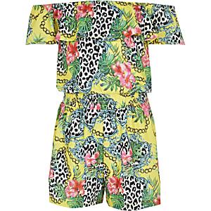 Gele bardotplaysuit met tropische print voor meisjes