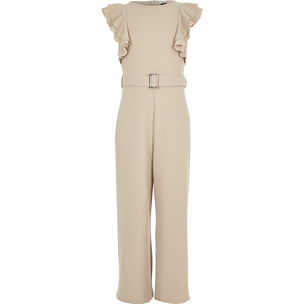 Girls beige frill jumpsuit