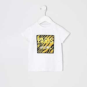 Mini girls white 'Paris' tiger T-shirt
