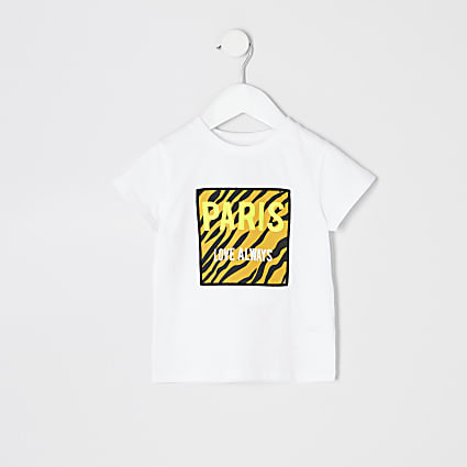 Mini girls white 'Paris' tiger T-shirt