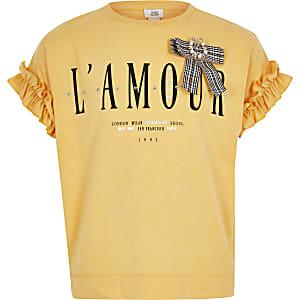 Girls yellow printed bow T-shirt