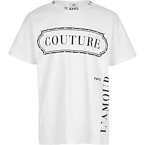 "Weißes, verziertes T-Shirt ""Couture"""