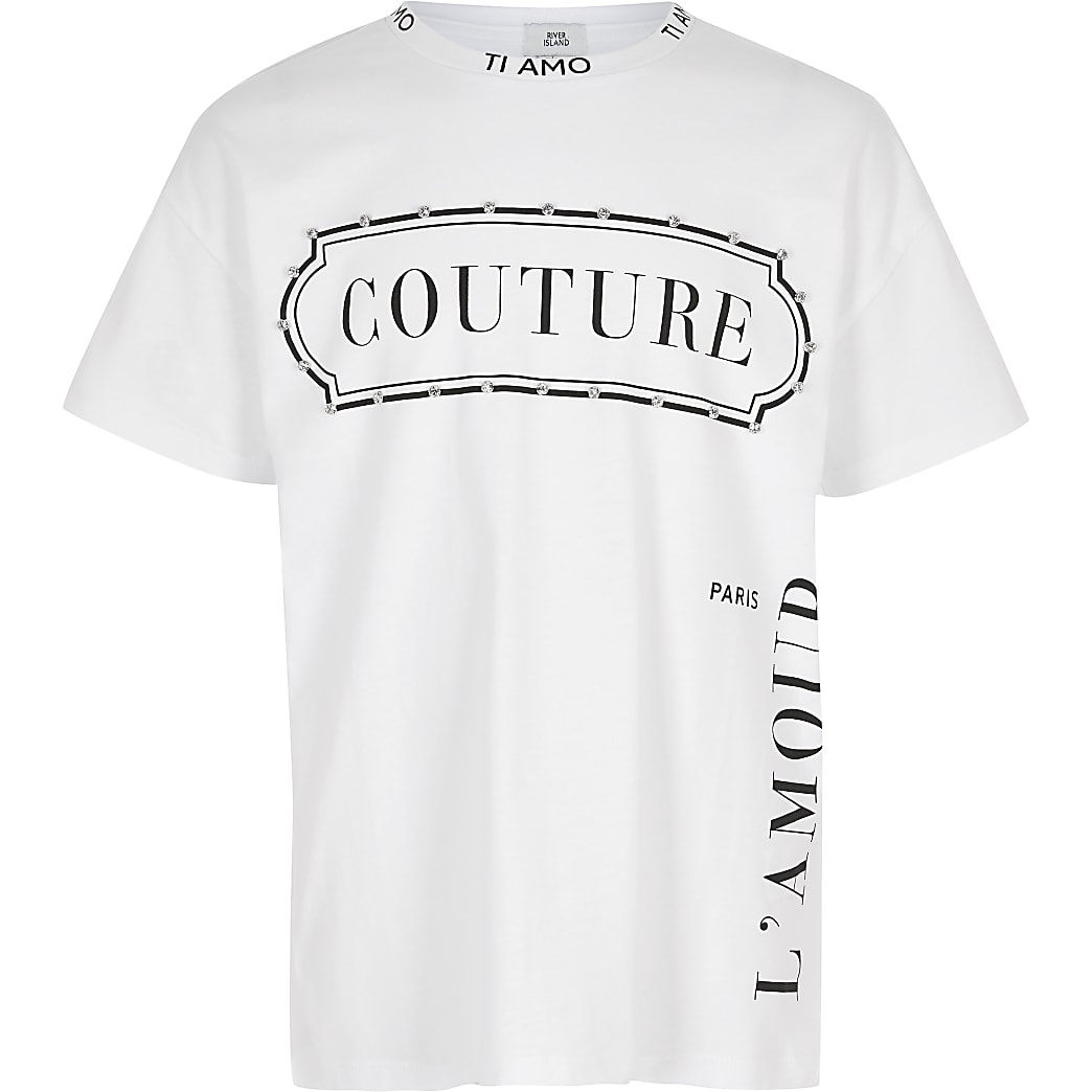 Girls white 'Couture' embellished T-shirt