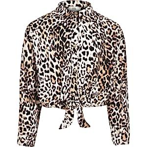 Girls pink leopard print tie front shirt