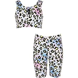 Girls purple leopard print tankini set