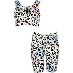 Girls purple leopard print tankini set