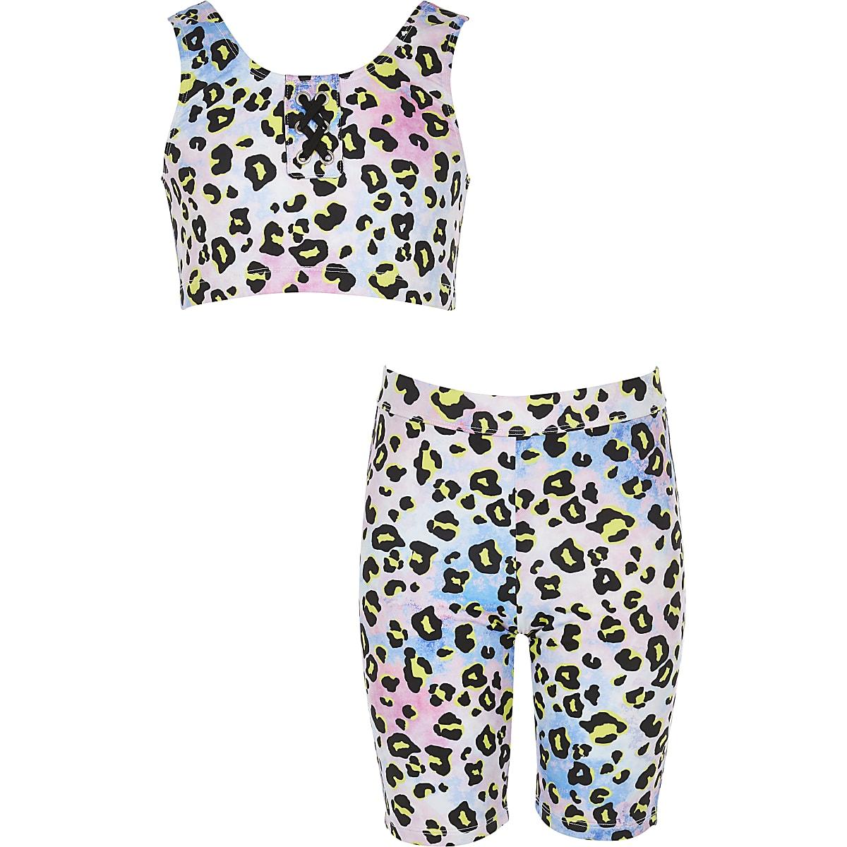 Girls purple leopard print bikini set