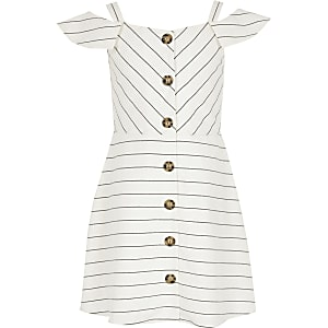 Girls white stripe bardot pinafore dress