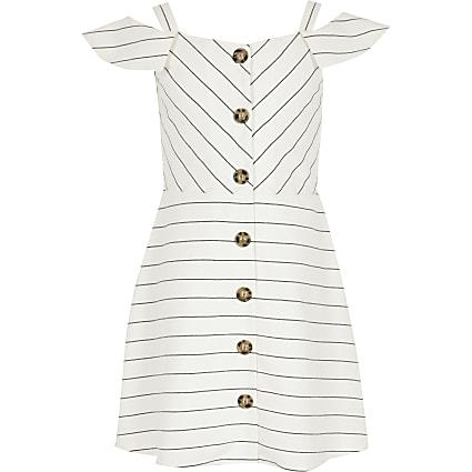 Girls white stripe bardot pinafore dress