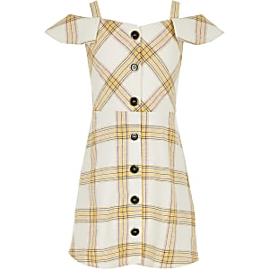 Girls yellow check pinafore dress