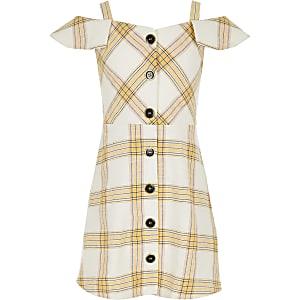 Robe chasuble à carreaux jaune pour fille