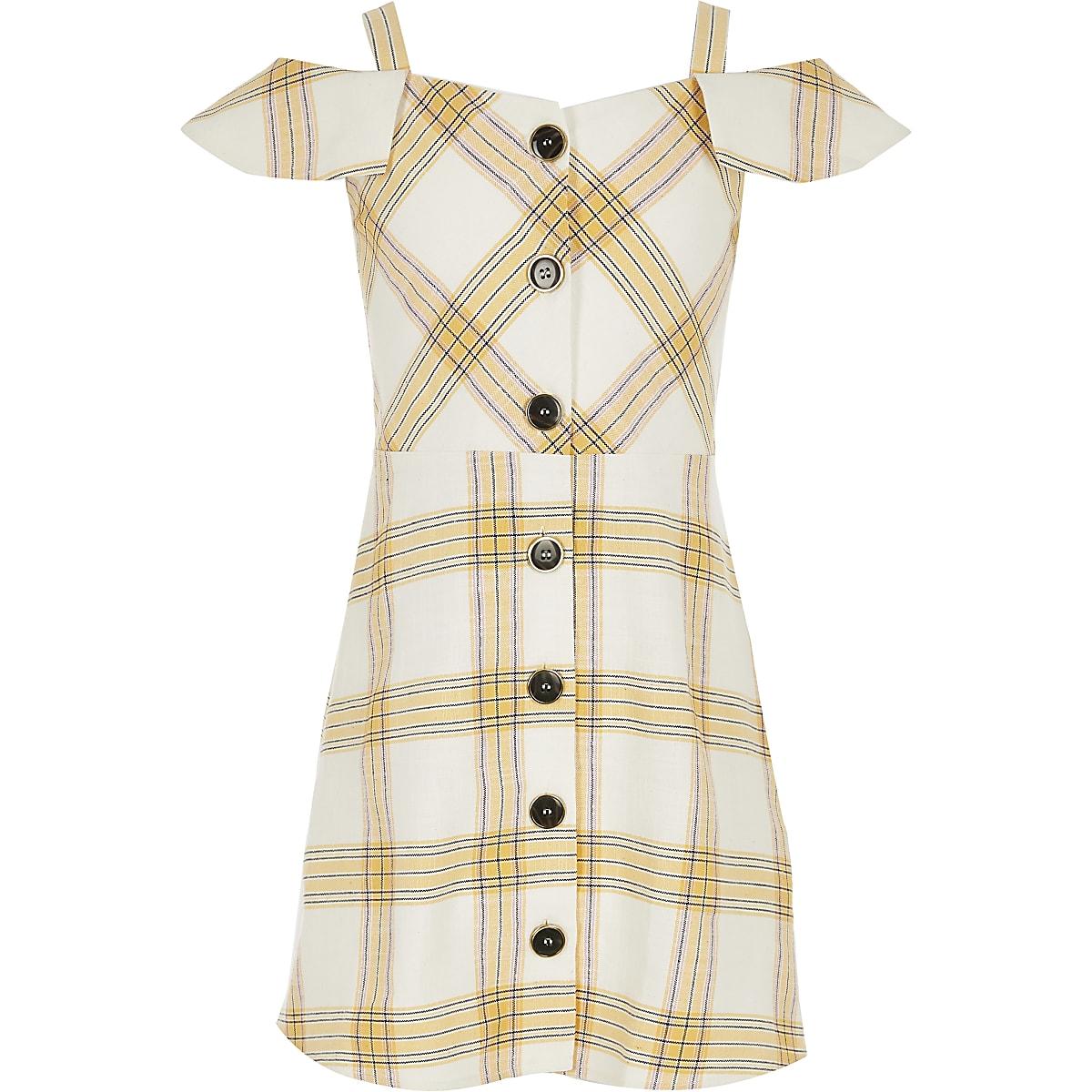 Girls yellow check pinafore dress