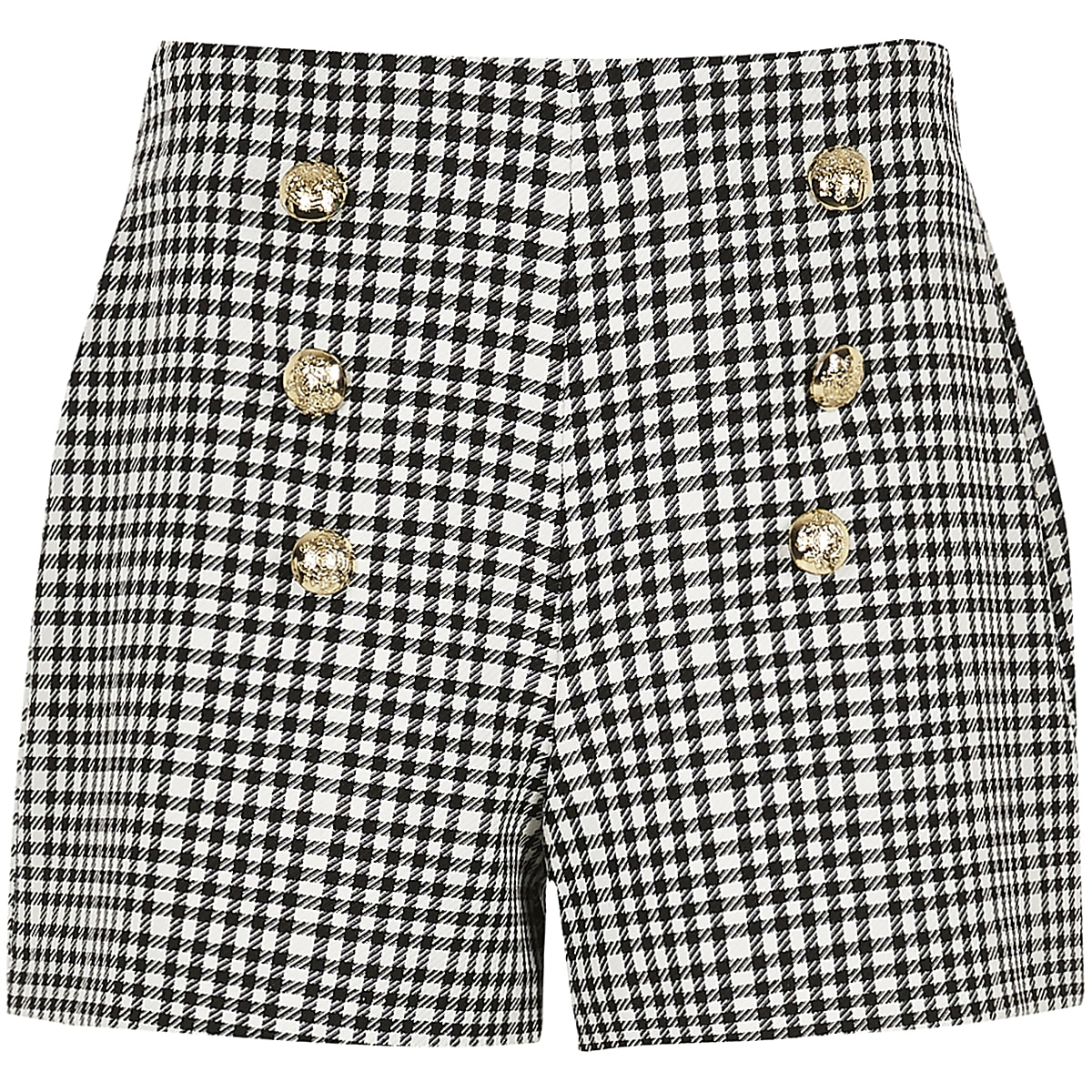 Girls monochrome gingham military shorts