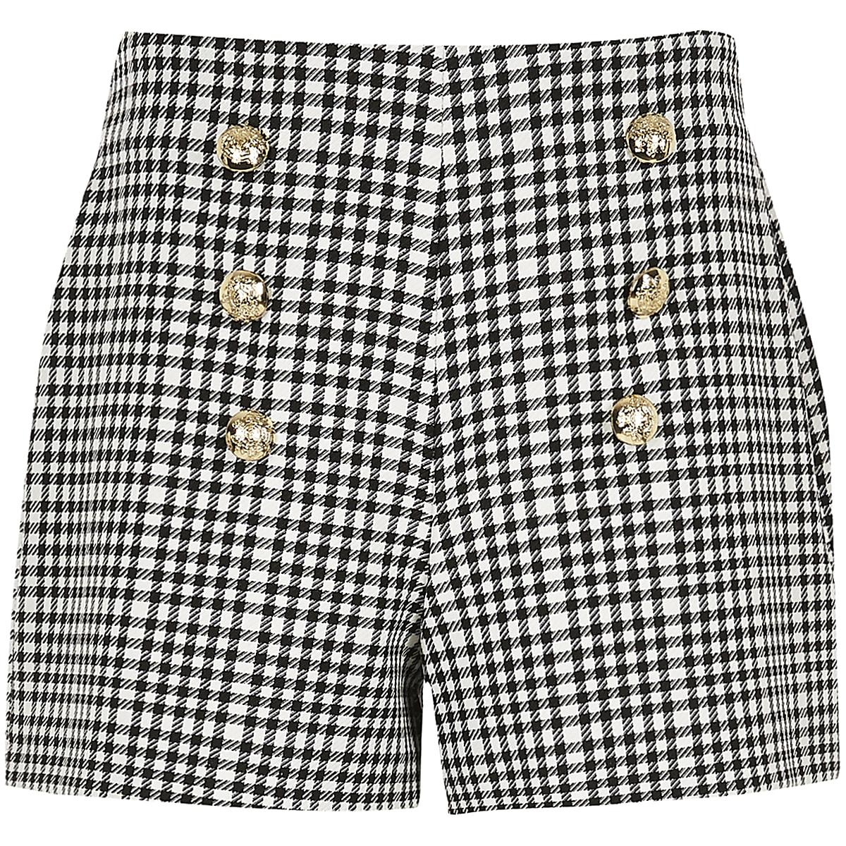 Girls monochrome gingham military shorts