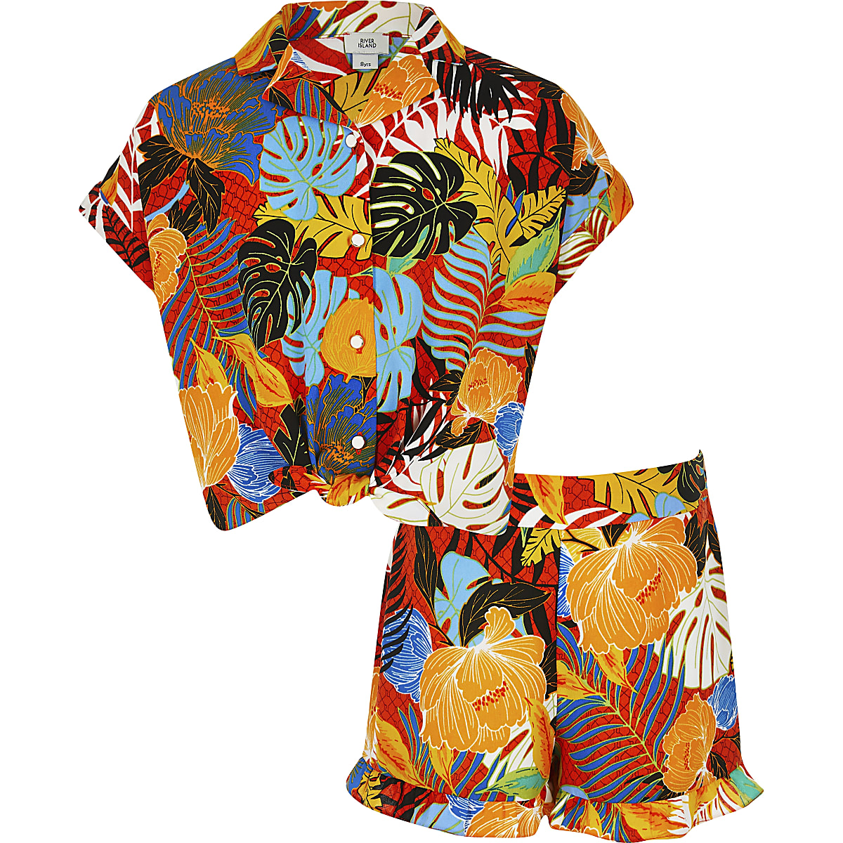 Girls red leaf print shirt outfit