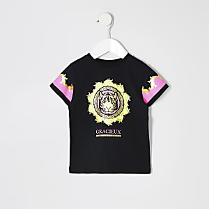 Mini girls black neon tiger print T-shirt