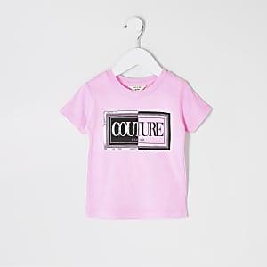 T-shirt imprimé rose fluo mini fille