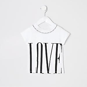 Mini - Wit jumbo T-shirt met print voor meisjes
