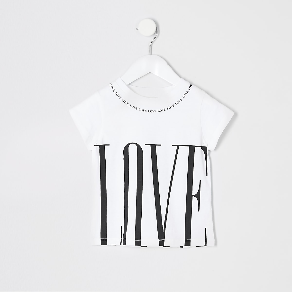 Mini girls white printed jumbo T-shirt