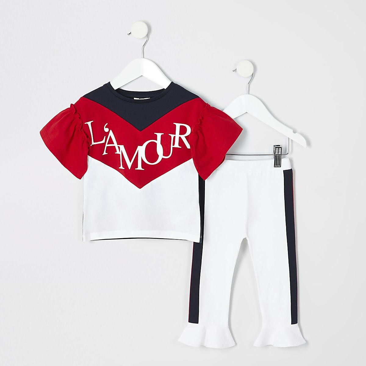 Mini girls navy chevron T-shirt outfit