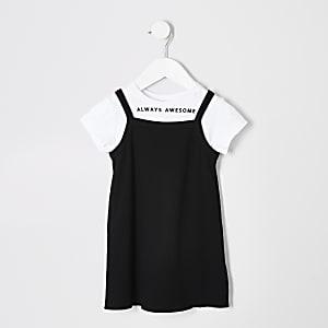 Mini - Zwarte 2 in 1 cami-jurk voor meisjes