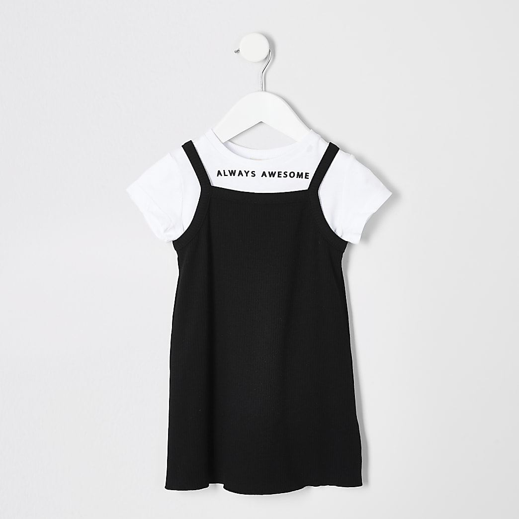 Mini girls black cami dress outfit